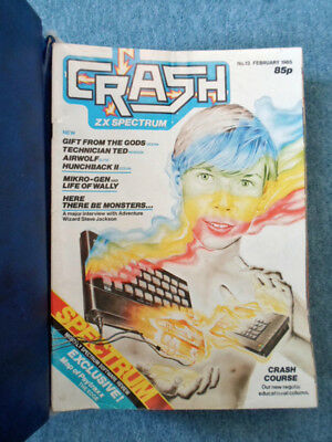 ZX Spectrum CRASH Magazine Issues 13 to 23 Issues With Binder