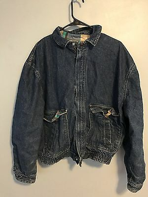 VTG 80s 90s Levi Medium Wash Denim Flannel Lined Jacket Sz XL