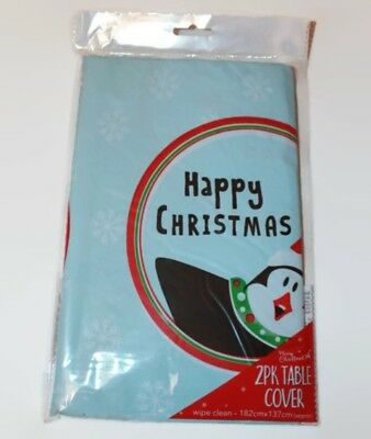 Pack Of 2 Happy Christmas Large Festive Table Covers Cloths 182 x 137cm PENGUIN