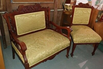 Pair of hand-carved upholstered gold fabricSide Chair & Settee Vintage local p/u