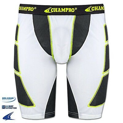 (Large, White) - Champro Mens ADULT Baseball Softball Sliding Shorts BPS12