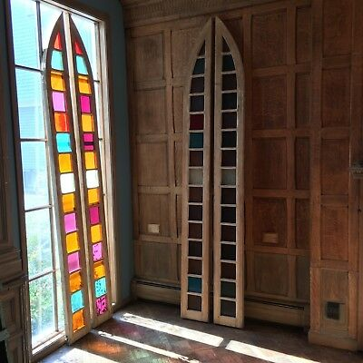 Antique Church Windows Circa 1880, Antique Sidelights, Huge Stained Glass Window