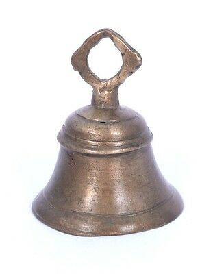 Old Indian Handcrafted High Aged Bronze Temple Bell Nice Christmas Decor. i9-18