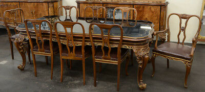 Antique 12-Piece Rococo Italian Dining Suite (Set) Gilt Carvings & Etched Glass
