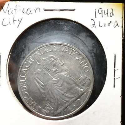 Vatican City 1942 2 Lire WWII Era Coin Large Size - B68