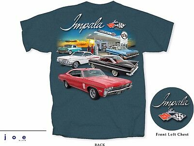 Chevy Impala Gas Station Men's T-Shirt Gray 1958 1959 1961 1963 1968 SS 409 427