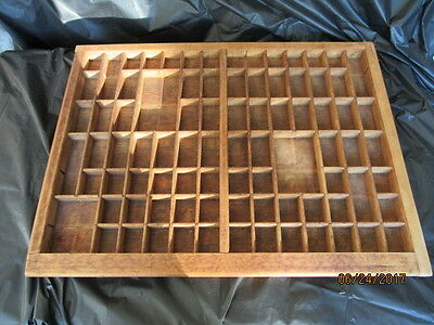 Vintage Wood Tray Printers' Drawer Style Many Sections Shadow Box Back Hangers