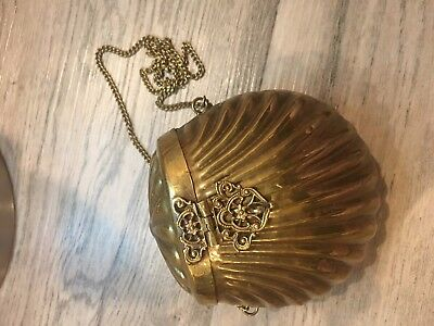 Vintage Antique Brass Metal Seashell Purse Hardshell Clutch Bag VERY UNIQUE!