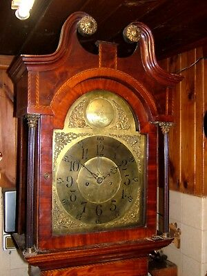A Georgian Oak, Mahogany & marquetry Antique Longcase Grandfather Clock C1820