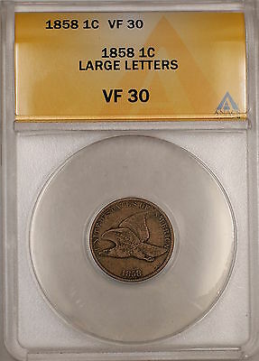 1858 Large Letters Flying Eagle Cent 1c Coin ANACS VF-30