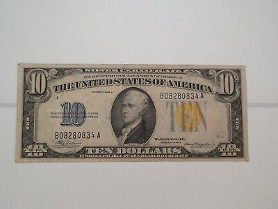 1934 A North Africa Ten Dollar SILVER CERTIFICATE $10 Note Starts At 99 Cents!