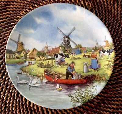 1984 Royal Schwabap Holland Hanging Plate Windmill Swan Cows Countryside Plate