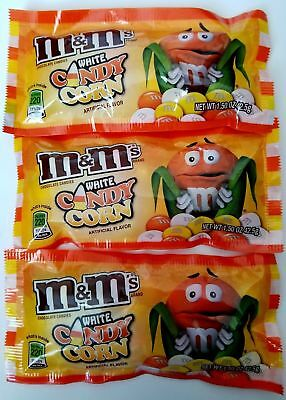 NEW SEALED Lot of 3 M&M's WHITE CANDY CORN 1.50 OZ BAG Free 1st Class Shipping