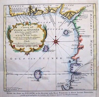 1757  Bellin Map of West Africa, Nigeria, Cameroon