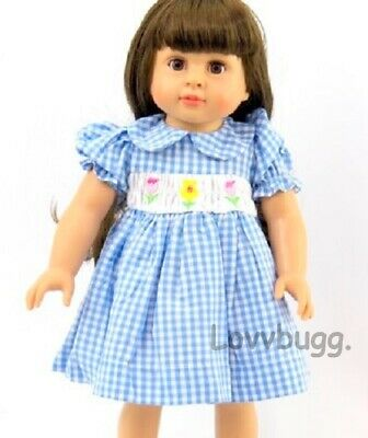 """Smocked Spring Dress Blue Checks Flowers for American Girl 15 - 18"""" Doll Clothes"""