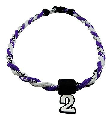 (Purple White) - Pick Your Number - Twisted Titanium Sports Tornado Necklace