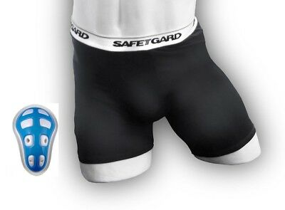 (Medium, Black) - SafeTGard Mens Sliding Short with Cage Cup (Available in 4