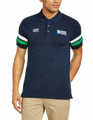 (X-Large, Navy) - Canterbury Men's Rugby World Cup Half Back Polo. Free Delivery