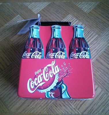 Coca-Cola 6 Pack Coke Bottle Tin Lunch Box w/ Cherry Candy - 2001