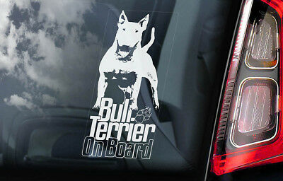 Bull Terrier on Board - Car Window Sticker - English Bully Dog Sign Decal - V07