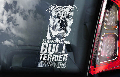 Staffordshire Bull Terrier - Car Window Sticker - Staffie Dog Sign Decal - V03