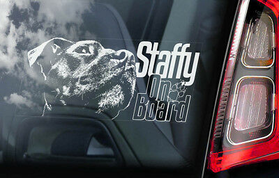Staffy on Board - Car Window Sticker - Staffordshire Bull Terrier Dog Decal -V05