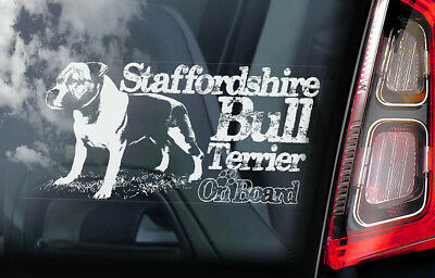 Staffordshire Bull Terrier - Car Window Sticker - Staffie Dog Sign Decal - V10