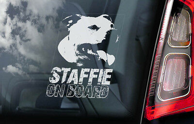 Staffie on Board - Car Window Sticker - Staffordshire Bull Terrier Dog Decal-V11