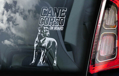 Cane Corso on Board - Car Window Sticker - Dog Sign Decal Italian Mastiff - V09