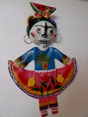 Mexican Folk Art Hand Painted Coconut Shell Mask Day of the Dead Skull Catrina