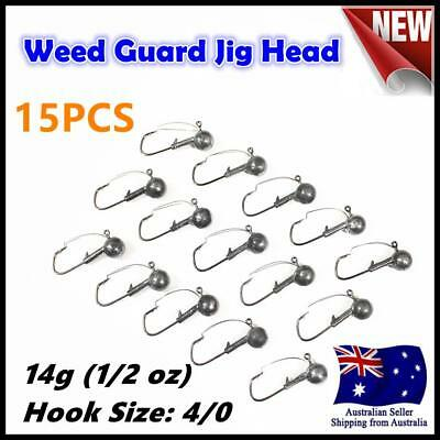 15X 14g ( 1/2oz ) Hook size 4/0 Weedguard Weedless Jig Head Chemically Sharpened
