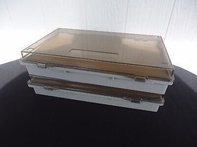 2 vintage slide projector cases holders trays