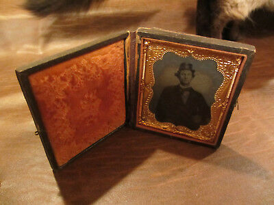 ANTIQUE OLD ORIGINAL 1800s CIVIL WAR ERA PHOTO OF MAN W/ KEPI HAT IN GOOD CASE