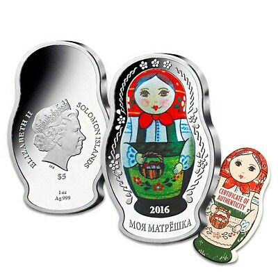 2016 1 oz Silver Solomon Islands Proof Russian Matryoshka Doll $5 Coin .999 Fine