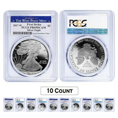 Lot of 10 - 2017-W 1 oz Proof Silver American Eagle PCGS PF 69 DCAM First Strike