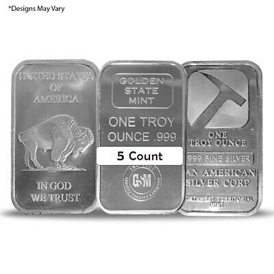 Lot of 5 - 1 oz Generic Silver Rounds/Bars .999 Fine