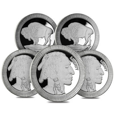 Lot of 5 - 1 oz Buffalo Stackable Silver Round .999 Silver