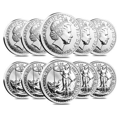 Lot of 10 - 2014 Great Britain 1 oz Silver Britannia Horse Privy Coin .999 Fine