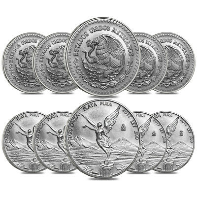 Lot of 10 - 2017 1/20 oz Mexican Silver Libertad Coin .999 Fine BU