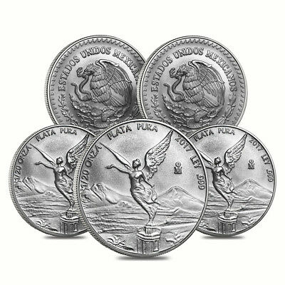 Lot of 5 - 2017 1/20 oz Mexican Silver Libertad Coin .999 Fine BU