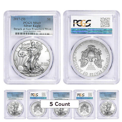 Lot of 5 - 2017 (S) 1 oz Silver American Eagle $1 Coin PCGS MS 69