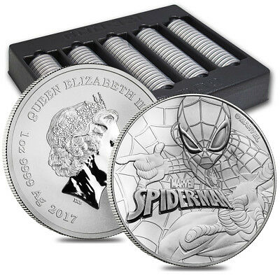 Lot of 100 - 2017 1 oz Tuvalu Spiderman Marvel Series Silver Coin .9999 Fine