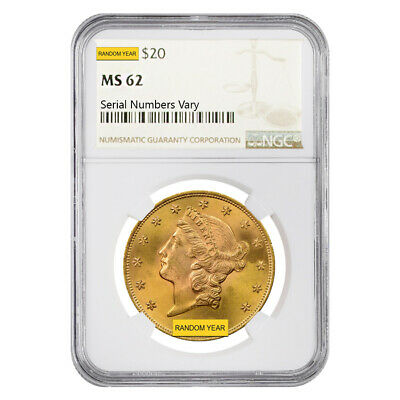 $20 Gold Double Eagle Liberty Head NGC MS 62 (Random Year)