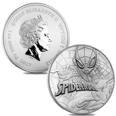 Lot of 2 - 2017 1 oz Tuvalu Spiderman Marvel Series Silver Coin .9999 Fine