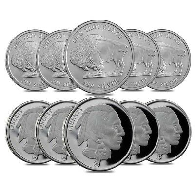 Lot of 10 - Buffalo Design Republic Metals 1 oz. .999 Fine Silver Round (RMC)