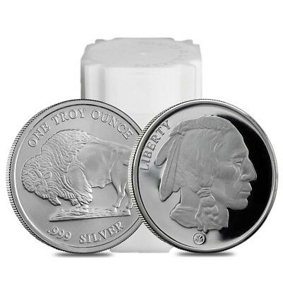 Roll of 20 - Buffalo Design Republic Metals 1 oz. .999 Fine Silver Round (RMC)