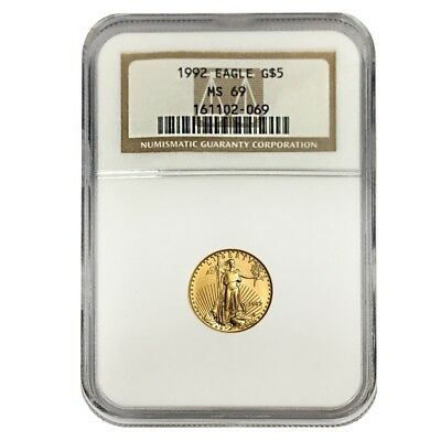 1992 1/10 oz $5 Gold American Eagle NGC MS 69