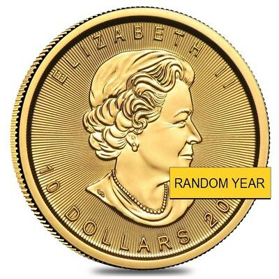 1/4 oz Canadian Gold Maple Leaf $10 Coin (Random Year)
