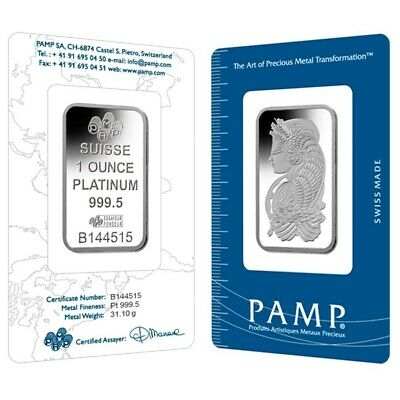 Sale Price - 1 oz PAMP Suisse Lady Fortuna Platinum Bar .9995 Fine (In Assay)
