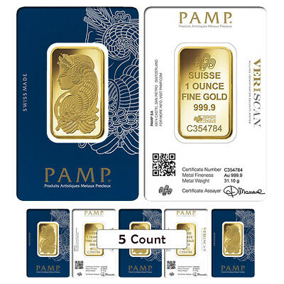 Lot of 5 - 1 oz Gold Bar PAMP Suisse Lady Fortuna Veriscan .9999 Fine (In Assay)